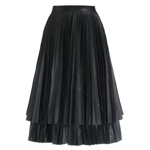 Bella Leather Midi Skirt