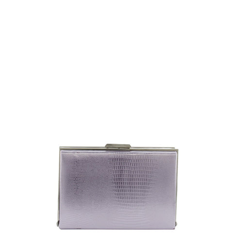 Gabee-Mischa Snake Emboss Square Frame Clutch-PEWTER-Clutch |Gabee.com.au leather, Bags & Accessories since 1949 - 1