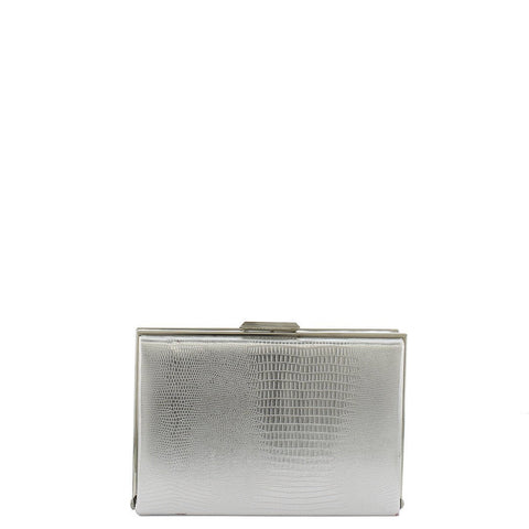 Gabee-Mischa Snake Emboss Square Frame Clutch-SILVER-Clutch |Gabee.com.au leather, Bags & Accessories since 1949 - 2