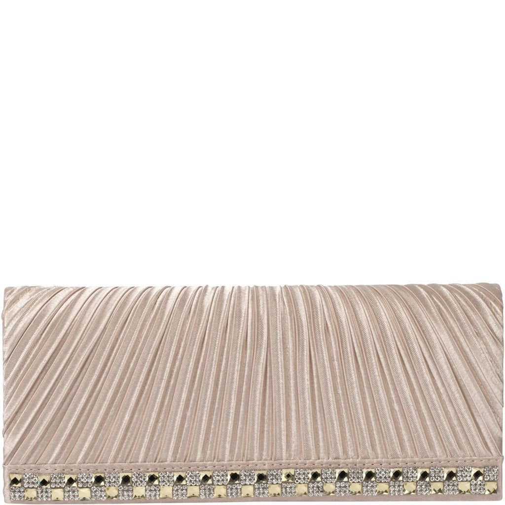 Gabee-Sassy Pleated Satin Rouged Clutch-NUDE-Clutch |Gabee.com.au leather, Bags & Accessories since 1949 - 1