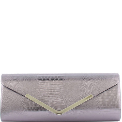 Gabee-Iris Snake Clutch-PEWTER-Clutch |Gabee.com.au leather, Bags & Accessories since 1949 - 2
