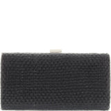 Gabee-Brooklyn Metal Frame Woven Clutch-BLACK-Clutch |Gabee.com.au leather, Bags & Accessories since 1949 - 1