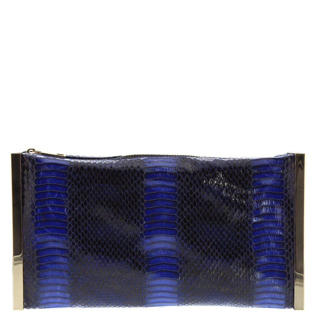 Gabee-Macey Snake Metal Frame Clutch-BLUE-Clutch |Gabee.com.au leather, Bags & Accessories since 1949 - 1