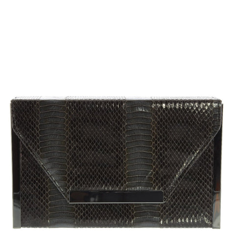 Gabee-Maria Snake Envelope Clutch-BLACK-Clutch |Gabee.com.au leather, Bags & Accessories since 1949