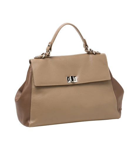 Gabee-Grace Two Tone Leather Shoulder Bag-TAUPE-Shoulder Bag - Gabee Bags | Gabee.com.au