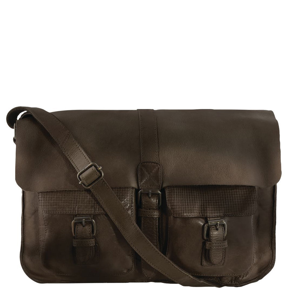 Renmark Monogrammed Washed Leather Messenger
