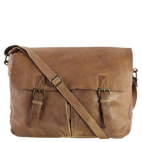 Gatton Monogrammed Washed Leather Messenger