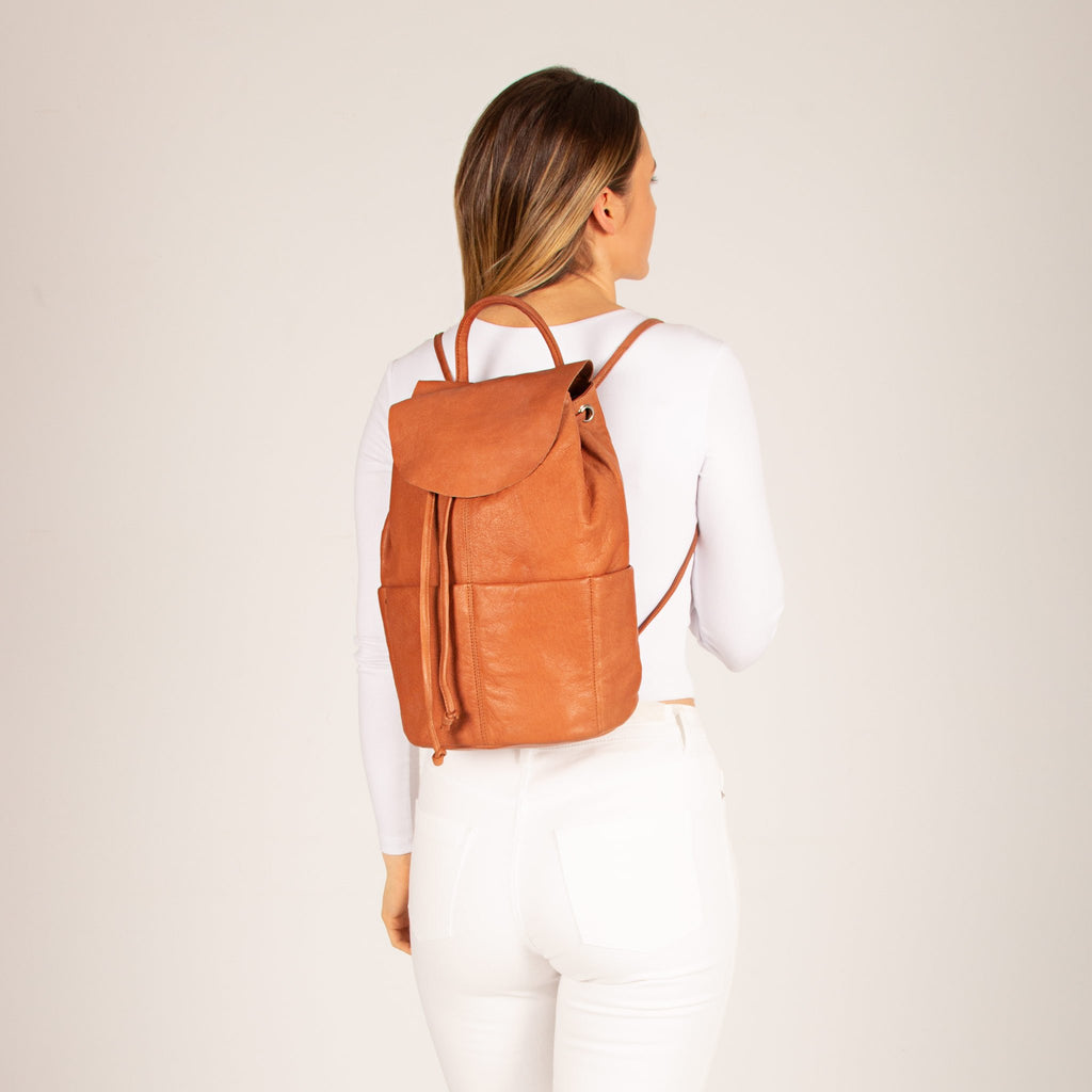 Bonnie Drawstring Leather Backpack