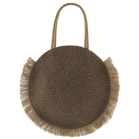 Airlie Woven Circle Fringed Tote