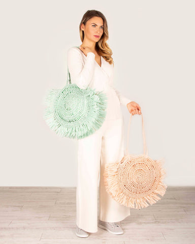Sandy Woven Circle Fringe Tote