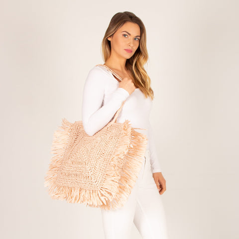 Marley Woven Square Fringe Tote