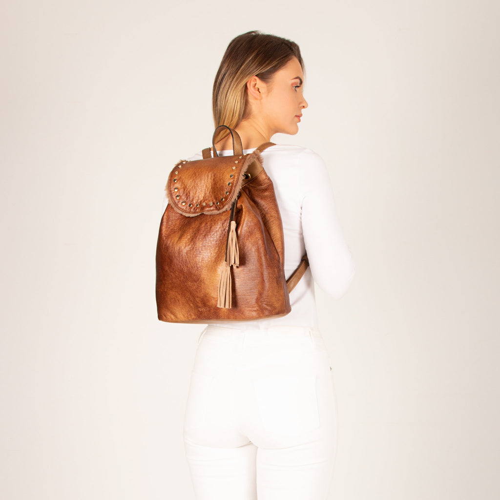 Bianca Vegan Leather Fur Trim Backpack