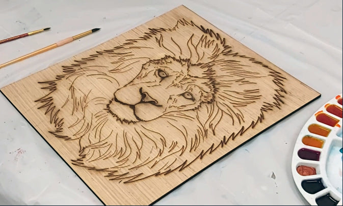 Lion Laser-cut Wood and Watercolour