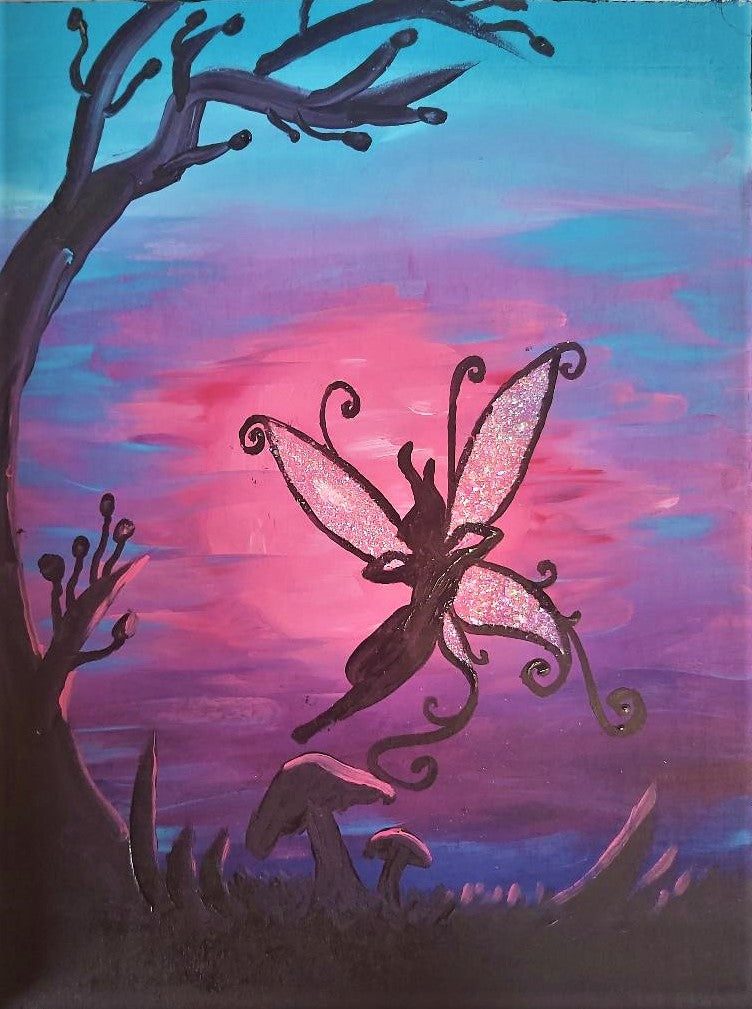 Fairy Full Moon Acrylic Painting
