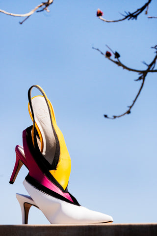 Image of Makoma heels in yellow, cyclamen and white colors