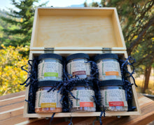 Load image into Gallery viewer, 6 Jar Recipe Box Gift Set + Salt Price ($7.99 is only for tin and gift wrap)