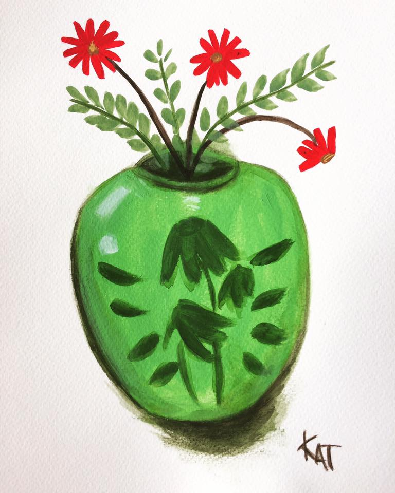Green Vase with Little Red Flowers