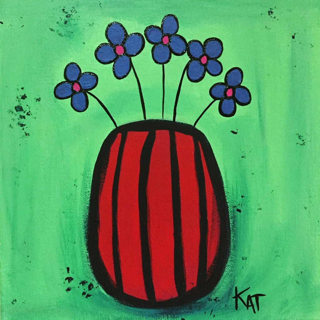 Red striped vase with Blue Flowers
