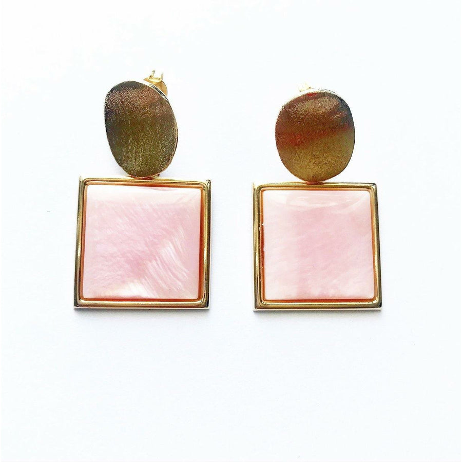 Square Pink Mother of Pearl Earrings