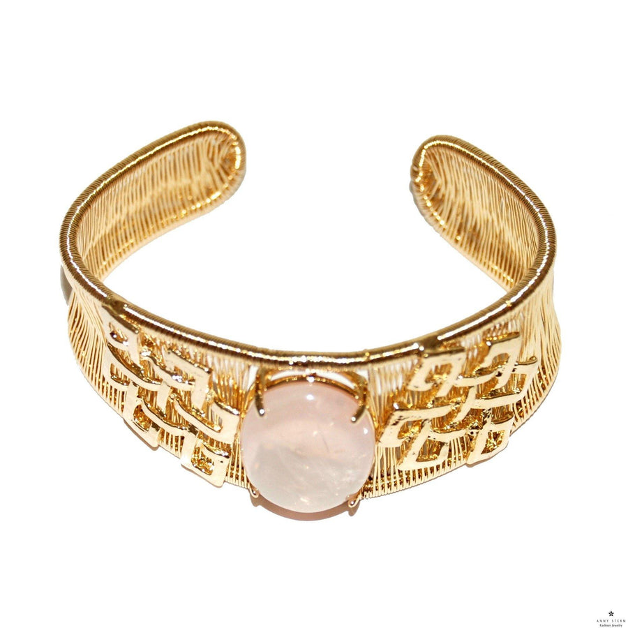 Woven Cabochon with Accent Cuff - Rose Quartz - Anny Stern Jewelry