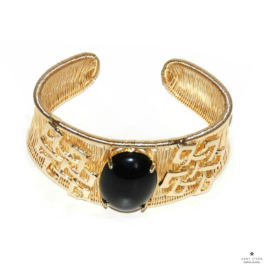 Woven Cabochon with Accent Cuff – Black Onyx