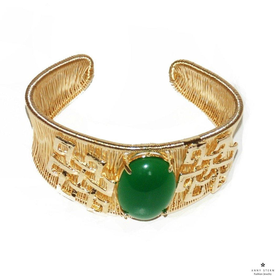 Woven Cabochon with Accent Cuff – Green
