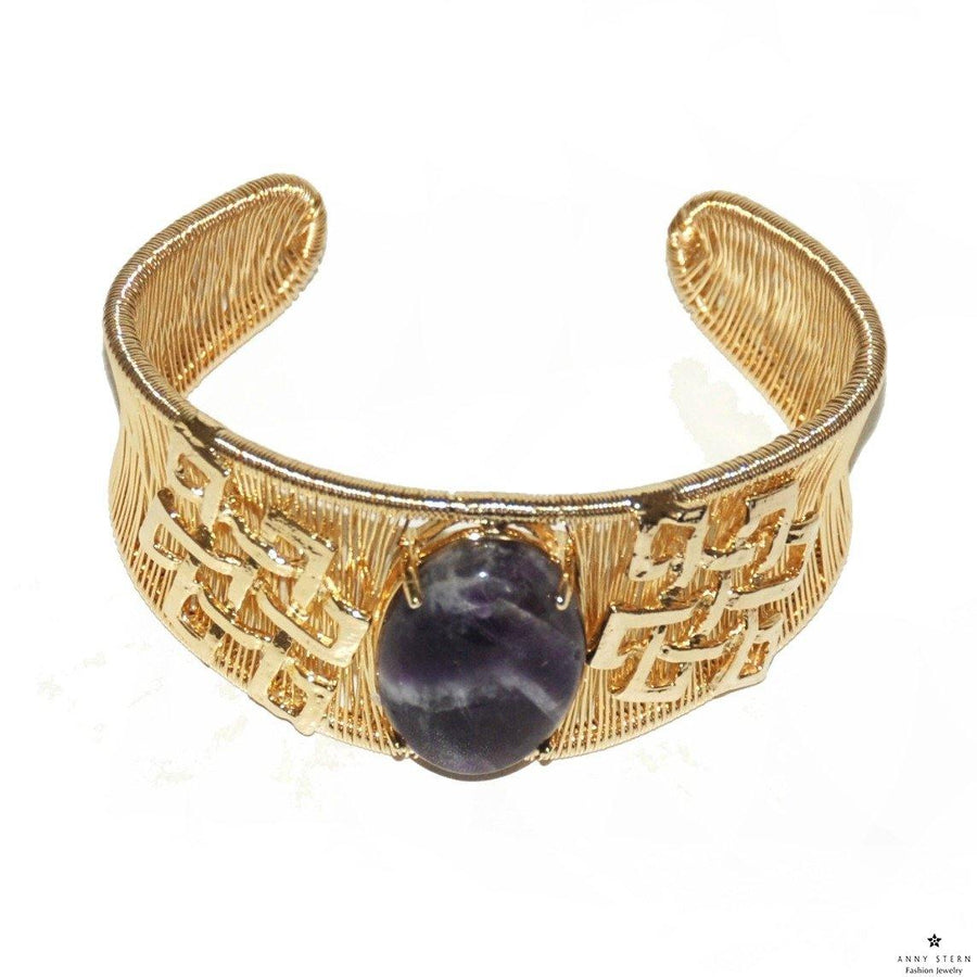 Woven Cabochon with Accent Cuff – Amethyst