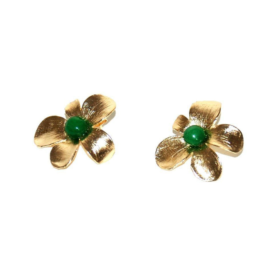 Flower Earrings with green cabochon