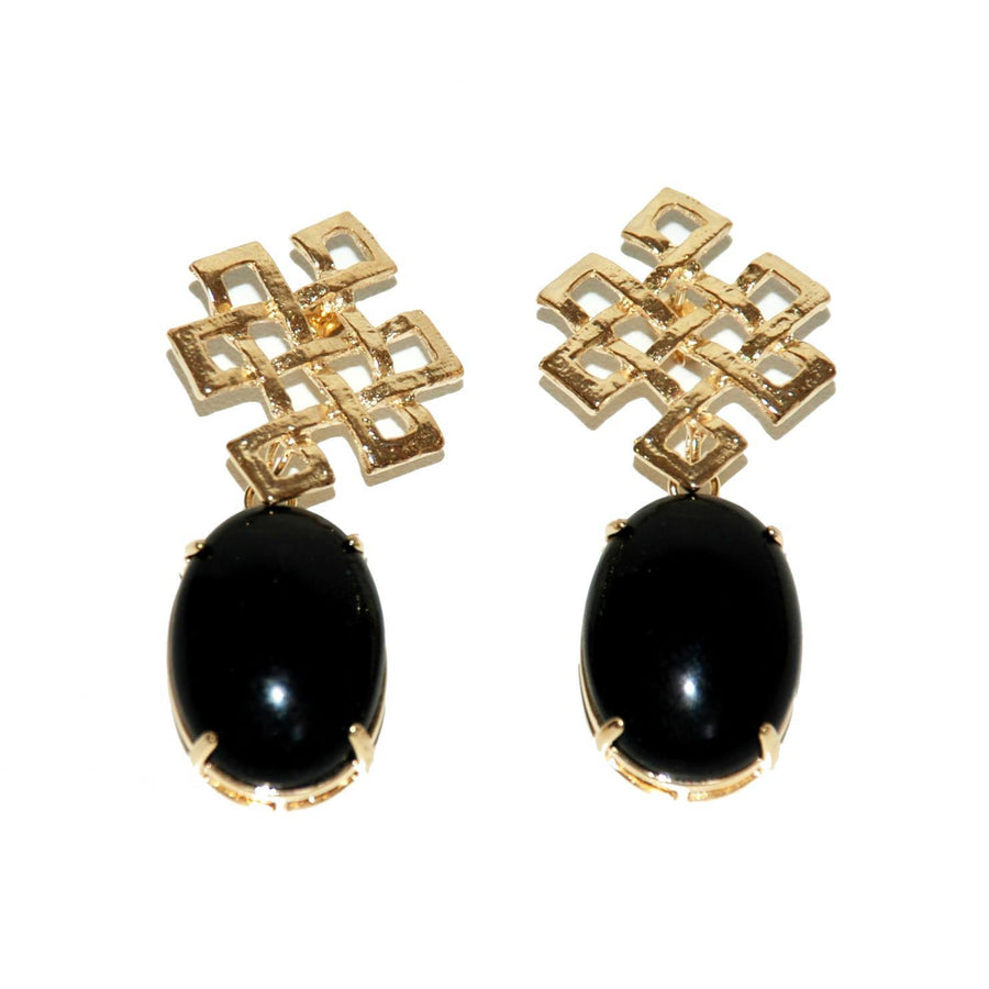 Celta Accent Cabochon Earrings – Onyx