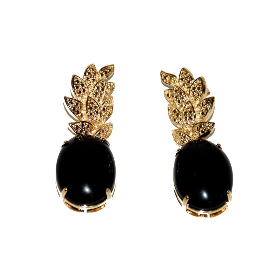 Leaf Base Earrings with Cabochon – Onyx