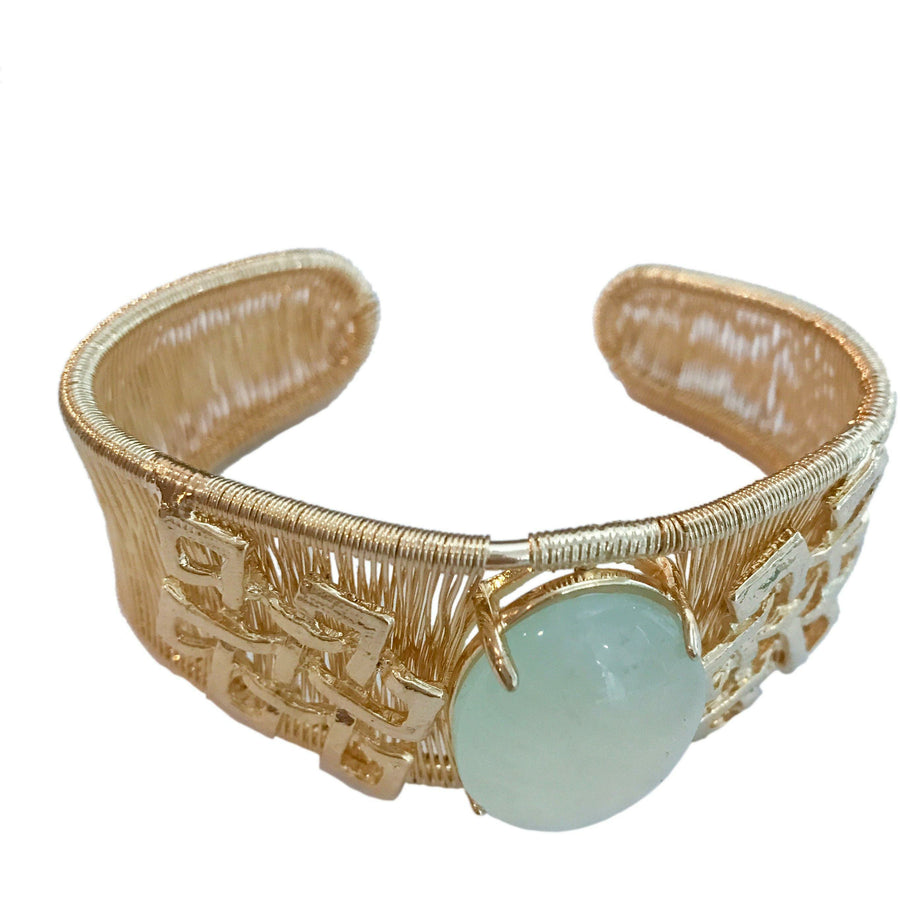 Woven Cabochon Bracelet With Accent Cuff- Hanon Jade