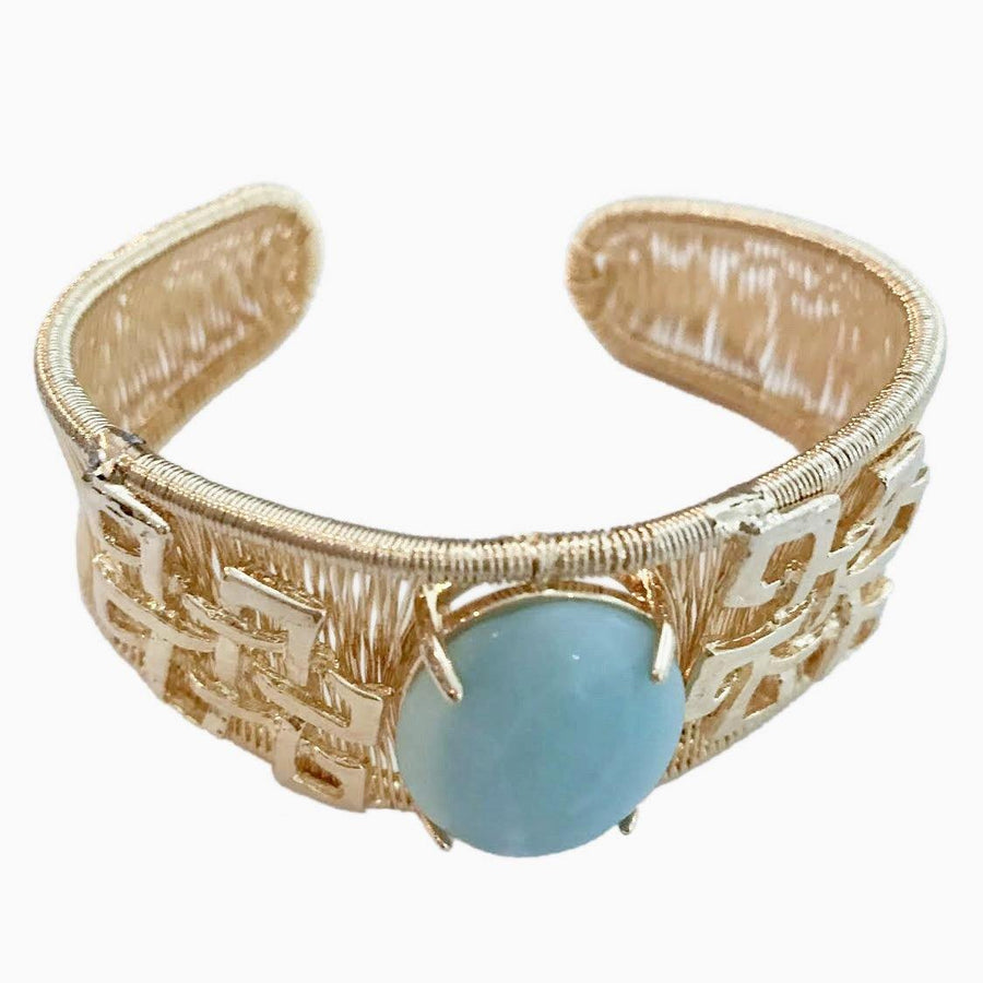 Woven Cabochon Bracelet With Accent Cuff - Amazonite