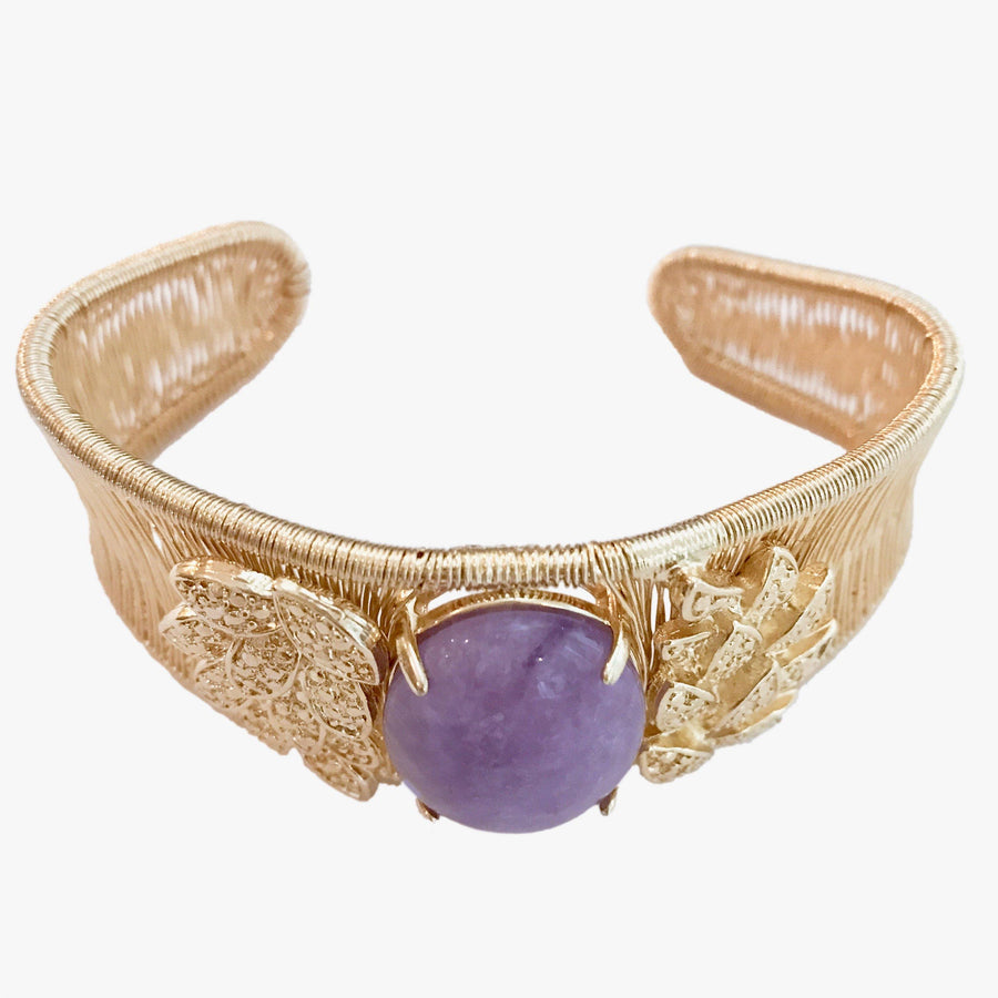 Woven Cabochon Bracelet With Leaf Cuff - Rose D'France Amethyst