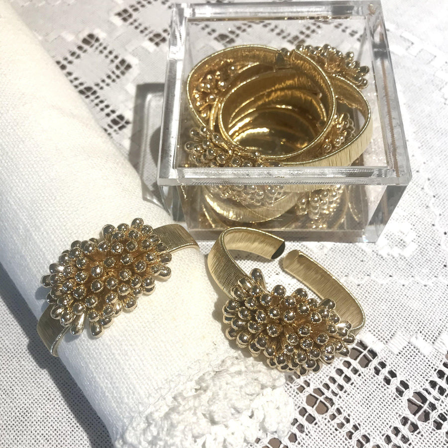 Set of 4 - Teardrop Cluster Napkin Ring