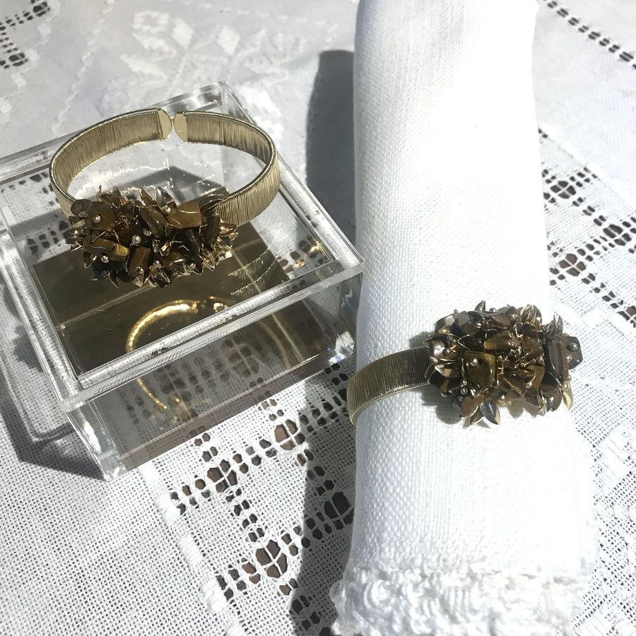 Set of 2 - Leaves & Tiger Eye Cluster Napkin Rings