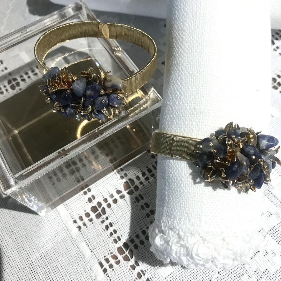 Set of 2 - Leaves & Sodalite Cluster Napkin Rings