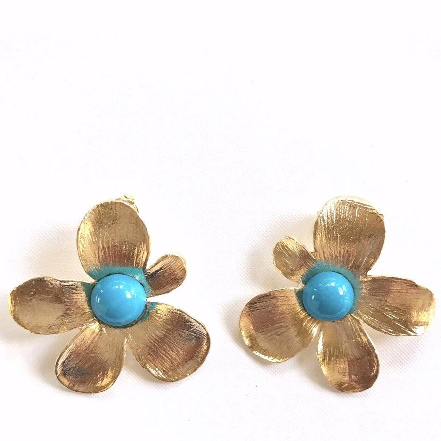 Flower Earrings - Howlite Turquoise - Anny Stern Jewelry