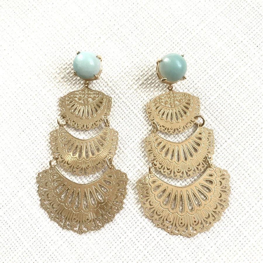 Flamenco Dancer Earrings - Amazonite
