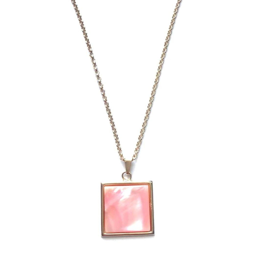Square Pendant Necklace - Pink Mother of Pearl