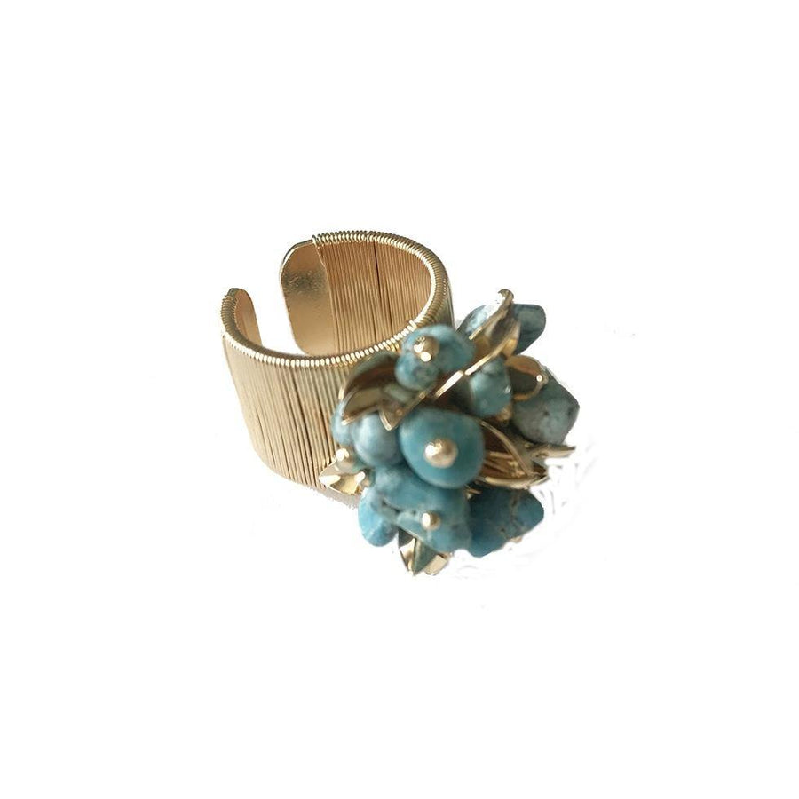 Leaf Cluster Ring- Howlite Turquoise