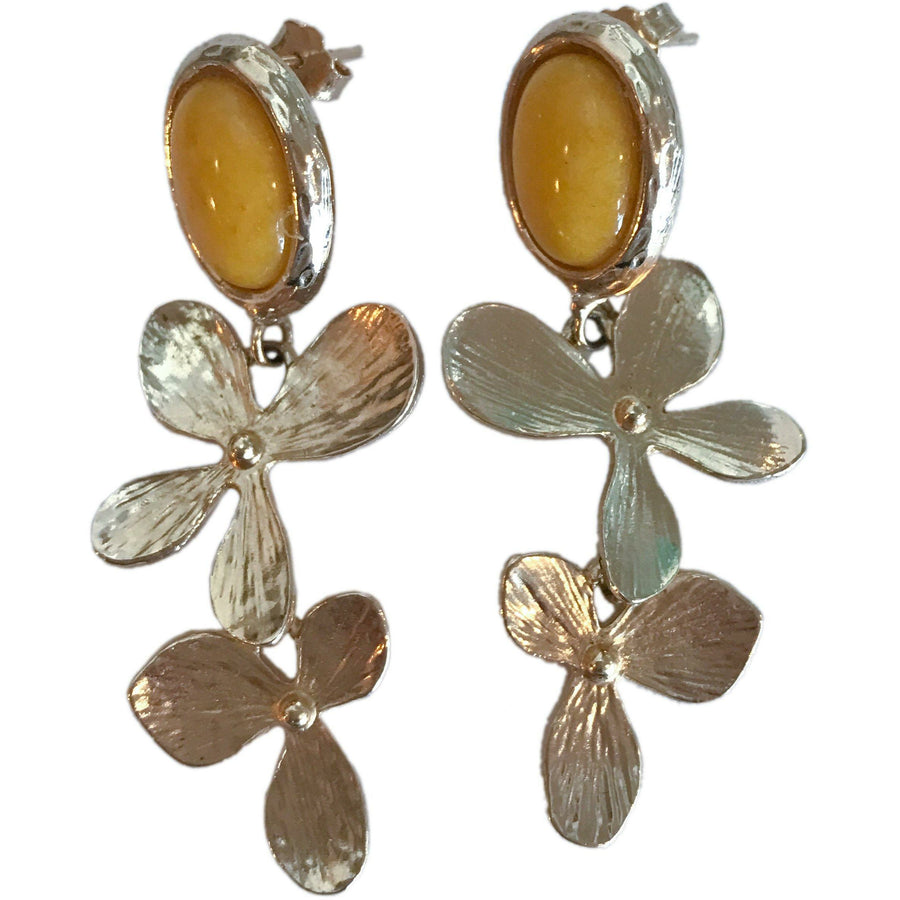 Fiore Earrings - Yellow Jade