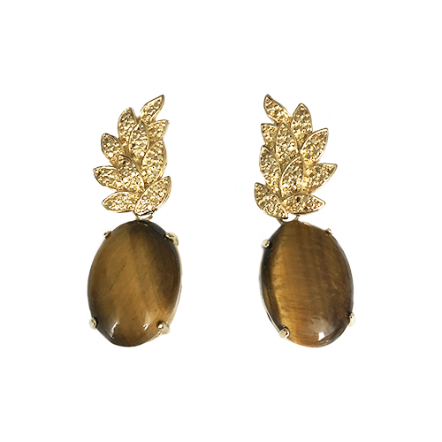 Leaf Base Earrings with Cabochon – Tiger Eye