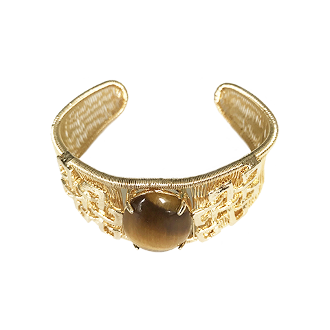 Woven Cabochon Bracelet With Accent Cuff -