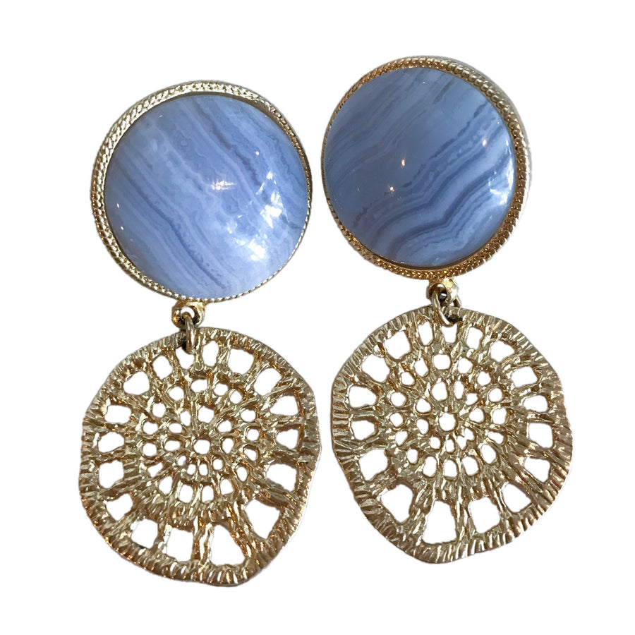 Soleil earrings -Blue Lace Agate
