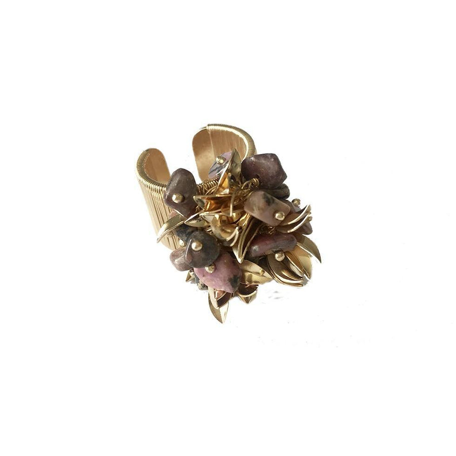 Leaf Cluster Ring - Rhodonite