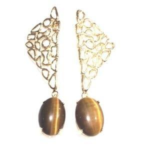 Abstract Earrings - Tiger Eye