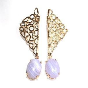 Abstract Earrings - Blue Lace Agate