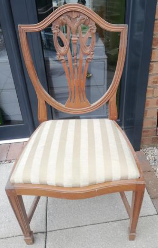 Mismatched dining chairs available for painting and reupholstery