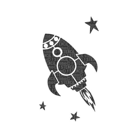 Stencil Studio - Rocket and Stars Stencil - A5