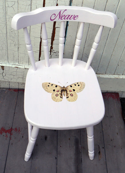 Children's little personalised upcycled shabby chic wooden nursery school chair with vintage butterfly theme and your child's name